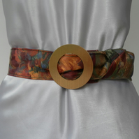 Floral Fabric Belt, Gold Tone, Textured, Circular, Metal Buckle