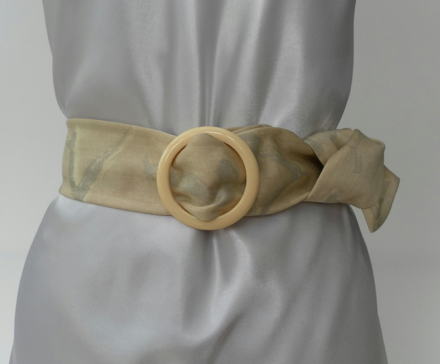 Cream, Fabric Belt, Cream, Circular Plastic Buckle