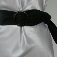 Black, Denim Belt, Black, Circular Plastic Buckle
