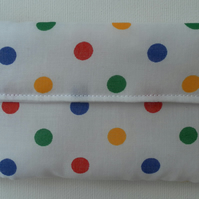 Small Coin Purse, white cotton with yellow, green, blue and red dots