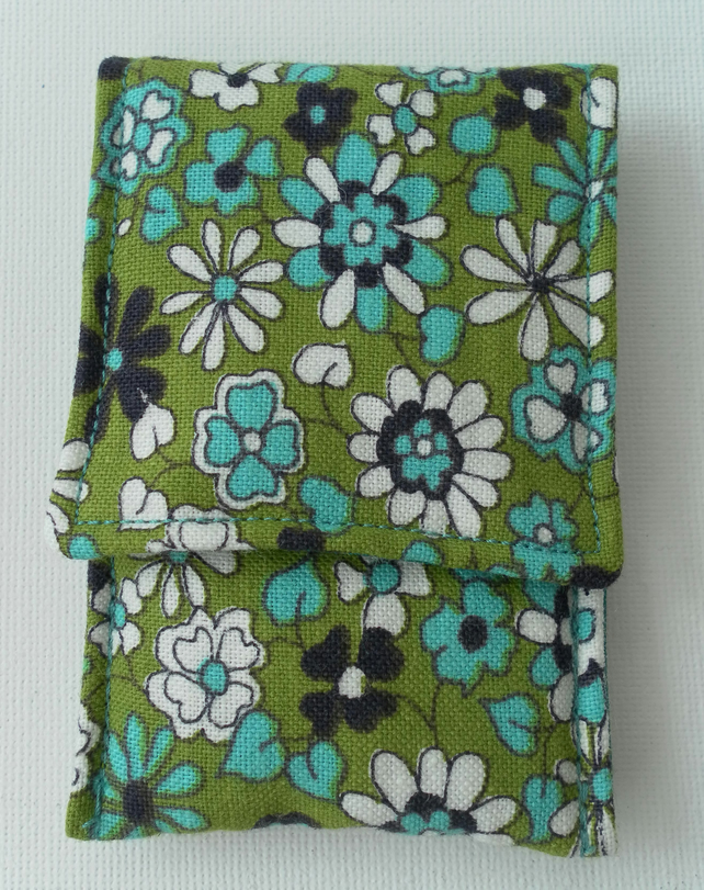 Small Coin Purse, green, turquoise, white and black floral cotton