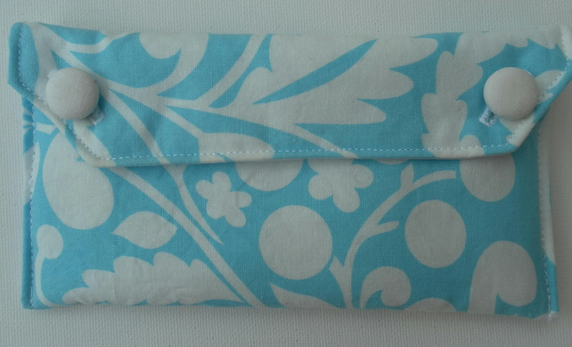 Turquoise and White Glasses Case, Two Buttons