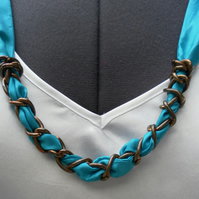 Scarf Necklace, Turquoise China Silk, Metal Chain and Decorations