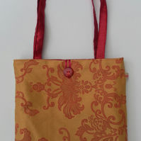 Handbag, Deep Red, Gold Reversible