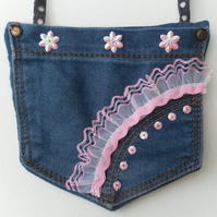 Shabby Chic Denim Bag, Lace and Sequins, Jeans, Back Pockets