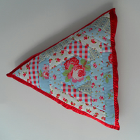 Triangular, Quilted Cushion, Cotton Floral Fabric on Red Satin