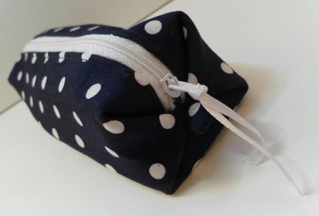 Navy and white, polka dot pencil case, make up bag