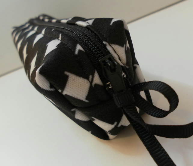 Pencil case, make up bag, black and white