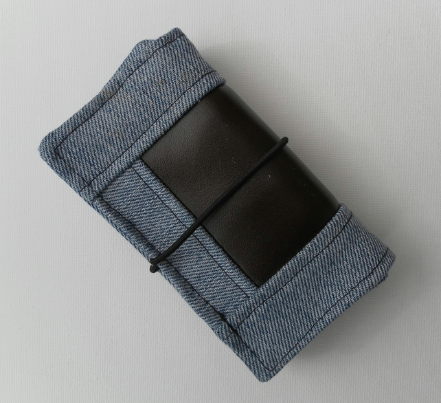 Bi-fold wallet, recycled Wrangler denim, Brown Leatherette, Father's Day