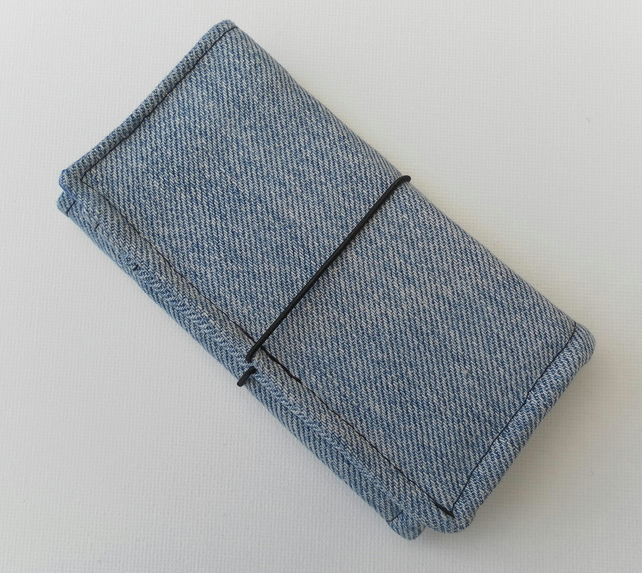 Bi-fold wallet, recycled Levi denim, Father's Day