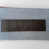 Toiletries Bag, Recycled Levi Denim, Brown Leatherette