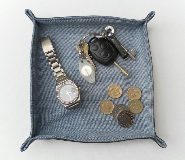 Bedside Tidy Tray, Recycled Wrangler Denim, Brown Leatherette, gift for him
