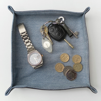 Bedside Tidy Tray, Recycled Wrangler Denim, Brown Leatherette