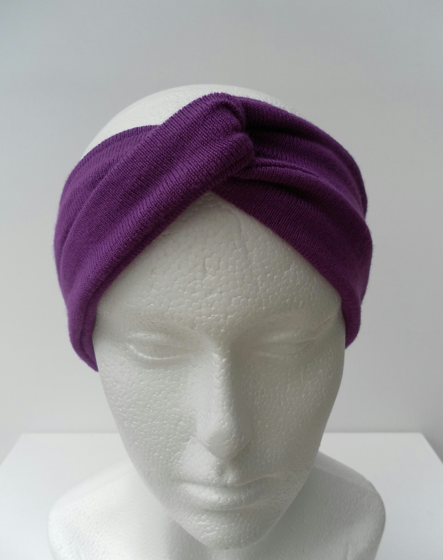 Turban Style Headband, Purple Knitted Fabric