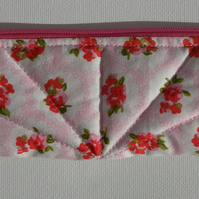 Pencil Case, Make Up Bag, pretty floral cotton fabric with red roses