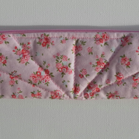 Pencil Case, Make Up Bag, red and pink roses in clusters on a pink background
