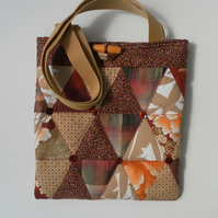 Quilted, Brown Tote, Shoulder Bag, Handbag, Tablet Bag
