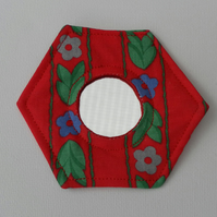 Handbag Mirror, Laura Ashley Fabric, Hexagonal, Red, Green, Blue