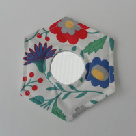 Handbag Mirror, Laura Ashley Fabric, Hexagonal, Multi-coloured Floral on White