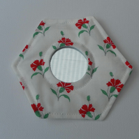 Handbag Mirror, Laura Ashley Fabric, Hexagonal, Red Carnations, White Background