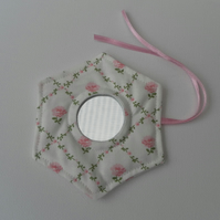 Handbag Mirror, Laura Ashley Fabric, Hexagonal, Pink Roses on Light Cream