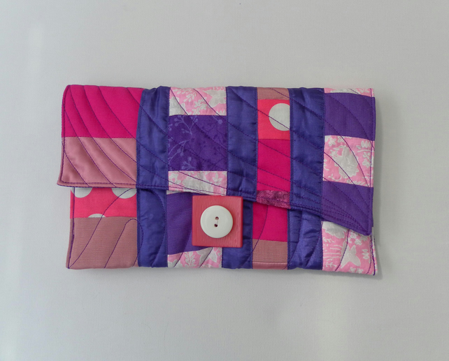Clutch, Handbag, Freestyle Patchwork Quilting, Pink and Purple