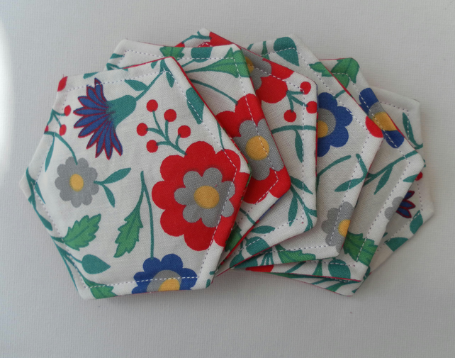 Coasters, Set of Six, Hexagonal, Laura Ashley Fabric, Floral, Red