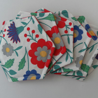 Coasters, Set of Six, Hexagonal, Floral, Red