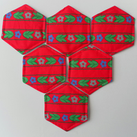Christmas Coasters, Set of Six, Hexagonal, Floral, Red