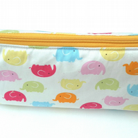 Make up Bag, Elephants, Yellow Zip