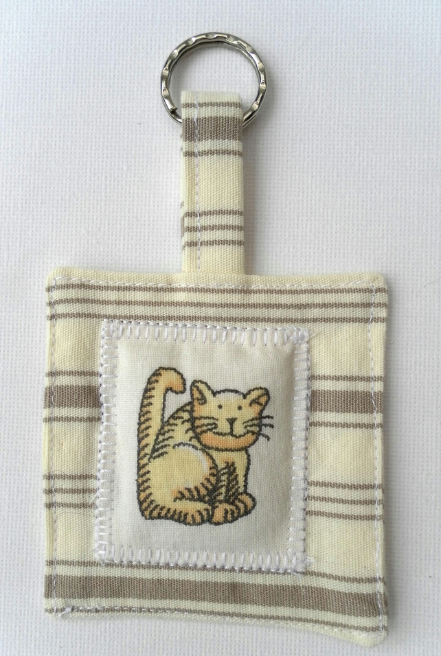 Fabric Keyring, Cat Motif