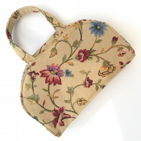 Floral Tapestry Style Fabric Bag, Zipped Handbag, Vintage Inspired