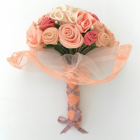 Wedding, Peach Bouquet, Bride, Bridesmaid, Wedding Flowers, Handmade Roses