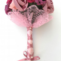Wedding Bouquet  Shades of  Pink and Purple Handmade Roses,