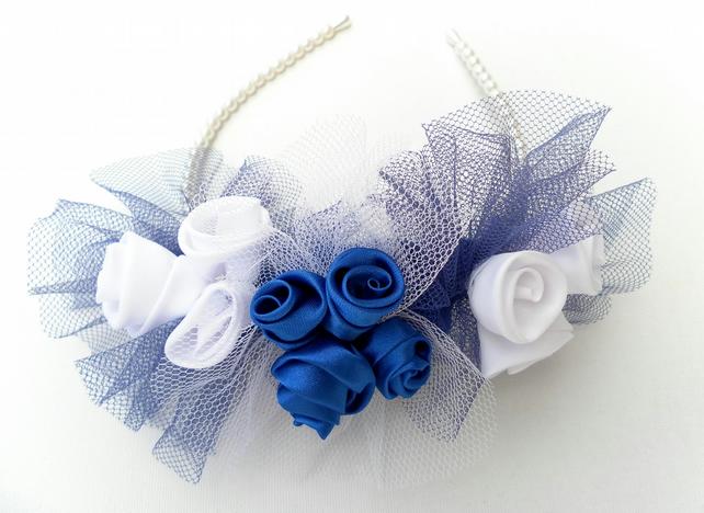 Hair accessory, wedding flowers, Blue and White, Bride, Bridesmaid
