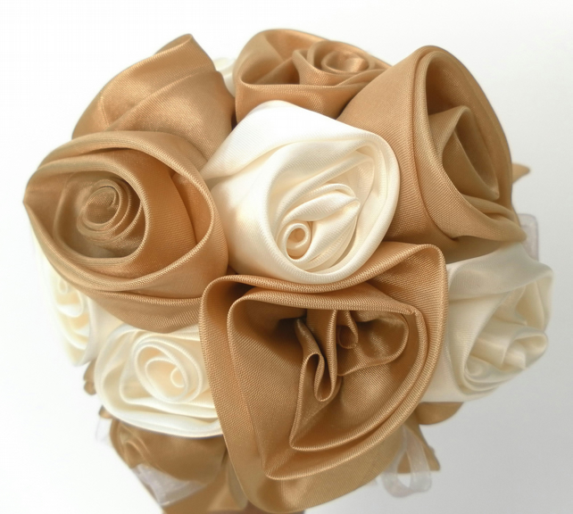 Wedding bouquet, Gold and Cream, Accessories, Bride, Bridesmaid, Groom etc.