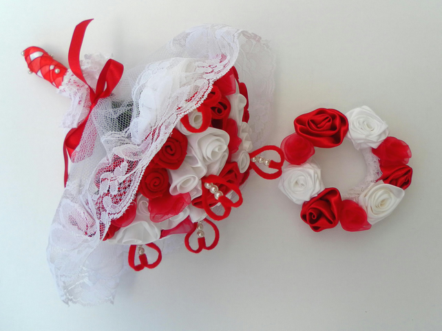 Wedding bouquet,  Red and White roses, matching Hair Accessory