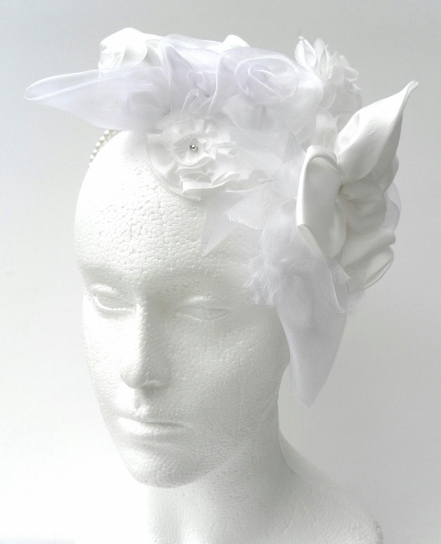 White Fascinator on Pearl Bead  Headband , Bride, Bridesmaid, Wedding