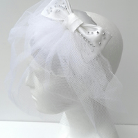 White Satin Fascinator,  White Satin Bow , Silver Beads, White Net Veil