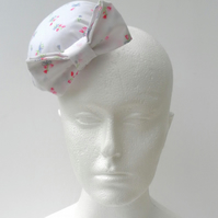 White Floral Cotton Fascinator with Matching Bow