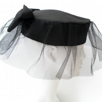 Retro Black Pillbox Hat , Net Veil and Bow, Wedding, Christening, Races