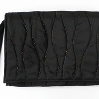 Ladies Handbag, Black Satin, Evening Bag, Quilted and Beaded