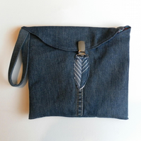 Denim Clutch, Wristlet Handbag