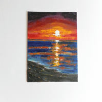 Original Painting in Acrylic, Sunset North Norfolk