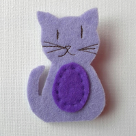 Purple Puss, Cat Brooch, Badge