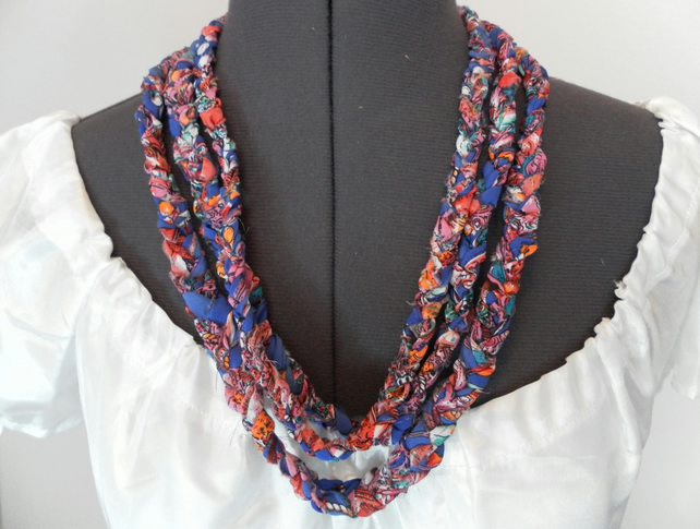 Necklace and bracelet, Plaited Fabric, Three Braid Necklace