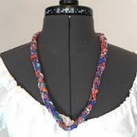 Single Braid Necklace and bracelet, Plaited Fabric Jewellery, free postage