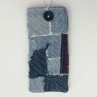 Japanese Boro inspired fabric glasses case, sunglasses case, recycled denim