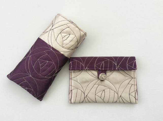 Glasses, sunglasses case, matching purse, quilted, cream, purple, gift set