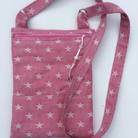 Ladies bag. Pink, white stars, denim, shoulder bag, cross body bag, handbag